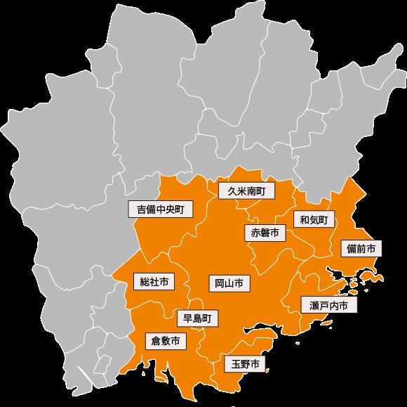 岡山県の地図イラスト